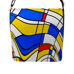 Colorful Distorted Shapes Flap Closure Messenger Bag (l) by LalyLauraFLM