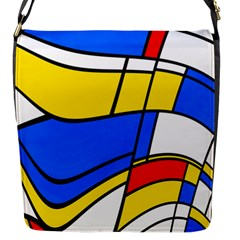 Colorful Distorted Shapes Flap Closure Messenger Bag (s) by LalyLauraFLM