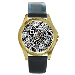 70 s Wallpaper Round Leather Watch (gold Rim)