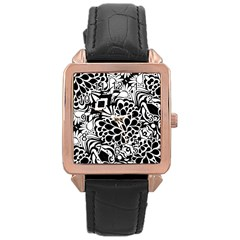 70 s Wallpaper Rose Gold Leather Watch  by KirstenStar
