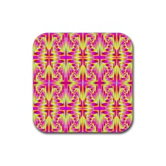 Pink And Yellow Rave Pattern Drink Coaster (square) by KirstenStar