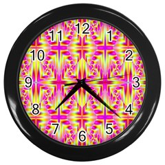 Pink And Yellow Rave Pattern Wall Clock (black)