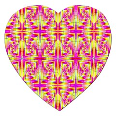 Pink And Yellow Rave Pattern Jigsaw Puzzle (heart) by KirstenStar