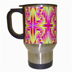 Pink And Yellow Rave Pattern Travel Mug (white) by KirstenStar