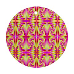 Pink And Yellow Rave Pattern Round Ornament (two Sides) by KirstenStar