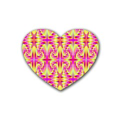 Pink And Yellow Rave Pattern Drink Coasters (heart)