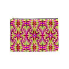 Pink And Yellow Rave Pattern Cosmetic Bag (medium) by KirstenStar