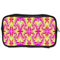 Pink And Yellow Rave Pattern Travel Toiletry Bag (two Sides) by KirstenStar