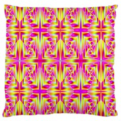 Pink And Yellow Rave Pattern Large Cushion Case (two Sided)  by KirstenStar
