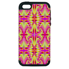 Pink And Yellow Rave Pattern Apple Iphone 5 Hardshell Case (pc+silicone) by KirstenStar