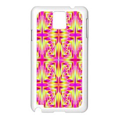 Pink And Yellow Rave Pattern Samsung Galaxy Note 3 N9005 Case (white) by KirstenStar