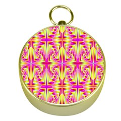 Pink And Yellow Rave Pattern Gold Compass by KirstenStar