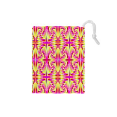 Pink And Yellow Rave Pattern Drawstring Pouch (small) by KirstenStar
