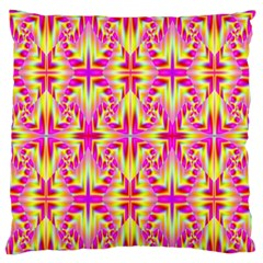 Pink And Yellow Rave Pattern Large Flano Cushion Case (two Sides) by KirstenStar