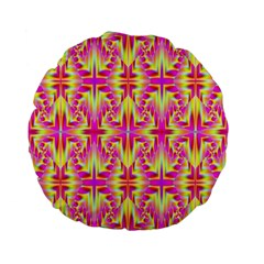 Pink And Yellow Rave Pattern Standard 15  Premium Flano Round Cushion  by KirstenStar