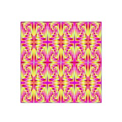 Pink And Yellow Rave Pattern Satin Bandana Scarf by KirstenStar