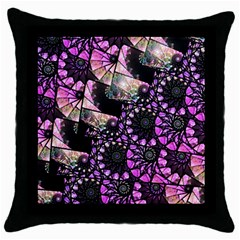 Hippy Fractal Spiral Stacks Black Throw Pillow Case by KirstenStar