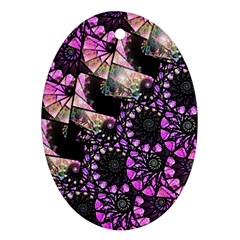 Hippy Fractal Spiral Stacks Oval Ornament (two Sides) by KirstenStar