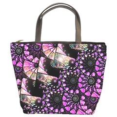 Hippy Fractal Spiral Stacks Bucket Handbag by KirstenStar