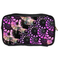 Hippy Fractal Spiral Stacks Travel Toiletry Bag (one Side) by KirstenStar