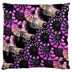 Hippy Fractal Spiral Stacks Large Cushion Case (two Sided)  by KirstenStar