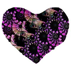 Hippy Fractal Spiral Stacks Large 19  Premium Heart Shape Cushion by KirstenStar