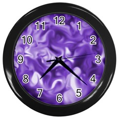 Lavender Smoke Swirls Wall Clock (black) by KirstenStar