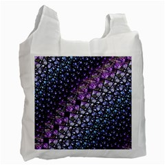 Dusk Blue And Purple Fractal White Reusable Bag (two Sides)