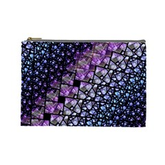 Dusk Blue And Purple Fractal Cosmetic Bag (large)