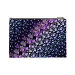 Dusk Blue and Purple Fractal Cosmetic Bag (Large) Back