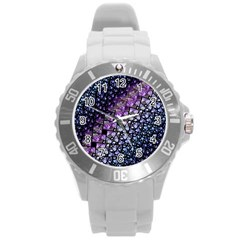 Dusk Blue And Purple Fractal Plastic Sport Watch (large) by KirstenStar
