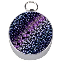Dusk Blue And Purple Fractal Silver Compass by KirstenStar