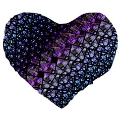 Dusk Blue And Purple Fractal Large 19  Premium Flano Heart Shape Cushion by KirstenStar