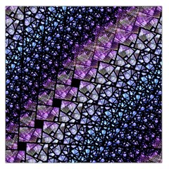 Dusk Blue And Purple Fractal Large Satin Scarf (square) by KirstenStar