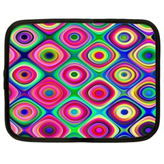 Psychedelic Checker Board Netbook Sleeve (large) by KirstenStar
