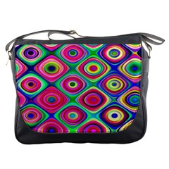 Psychedelic Checker Board Messenger Bag by KirstenStar
