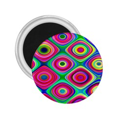 Psychedelic Checker Board 2 25  Button Magnet