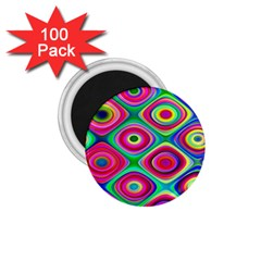 Psychedelic Checker Board 1 75  Button Magnet (100 Pack)