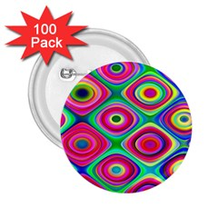 Psychedelic Checker Board 2 25  Button (100 Pack) by KirstenStar