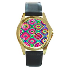 Psychedelic Checker Board Round Leather Watch (gold Rim)  by KirstenStar