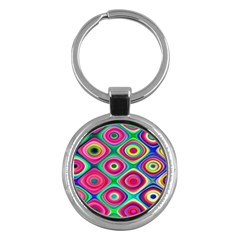 Psychedelic Checker Board Key Chain (round) by KirstenStar