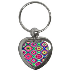 Psychedelic Checker Board Key Chain (heart) by KirstenStar