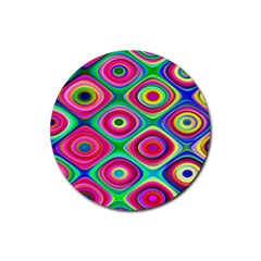 Psychedelic Checker Board Drink Coasters 4 Pack (round) by KirstenStar