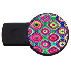 Psychedelic Checker Board 2gb Usb Flash Drive (round) by KirstenStar