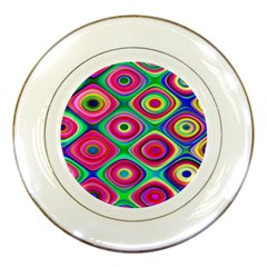 Psychedelic Checker Board Porcelain Display Plate by KirstenStar