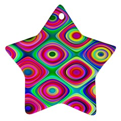 Psychedelic Checker Board Star Ornament (two Sides)