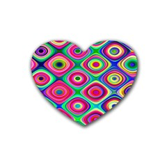 Psychedelic Checker Board Drink Coasters (heart) by KirstenStar