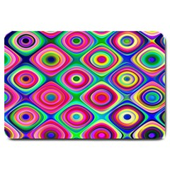 Psychedelic Checker Board Large Door Mat by KirstenStar