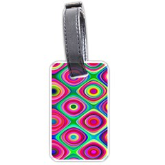 Psychedelic Checker Board Luggage Tag (one Side) by KirstenStar