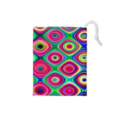 Psychedelic Checker Board Drawstring Pouch (small) by KirstenStar